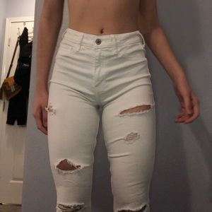 White Ripped Skinny Jeans Hollister